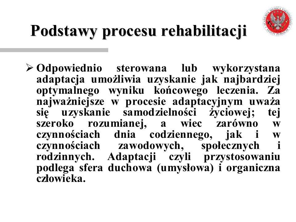 Podstawy procesu rehabilitacji  Odpowiednio sterowana lub wykorzystana adaptacja umożliwia uzyskanie jak najbardziej optymalnego wyniku końcowego lec