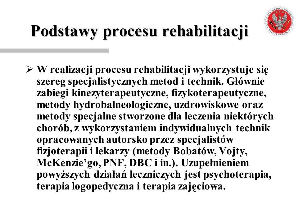 Podstawy procesu rehabilitacji  W realizacji procesu rehabilitacji wykorzystuje się szereg specjalistycznych metod i technik. Głównie zabiegi kinezyt