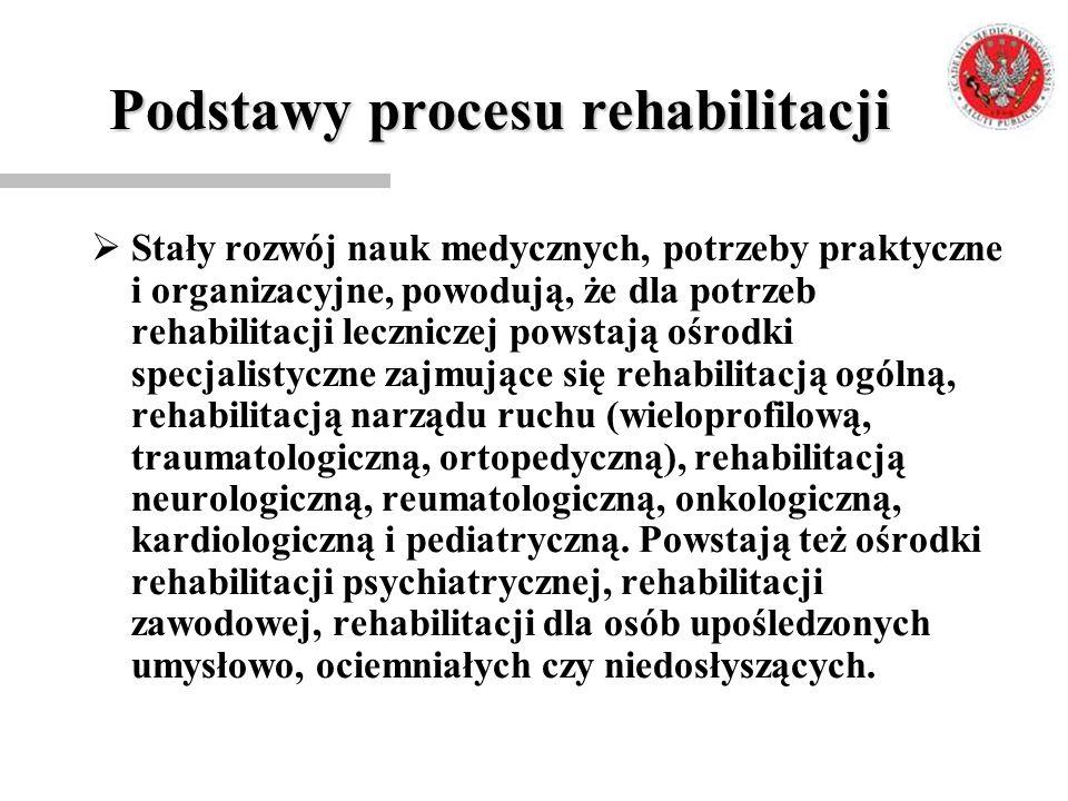 Podstawy procesu rehabilitacji  Stały rozwój nauk medycznych, potrzeby praktyczne i organizacyjne, powodują, że dla potrzeb rehabilitacji leczniczej