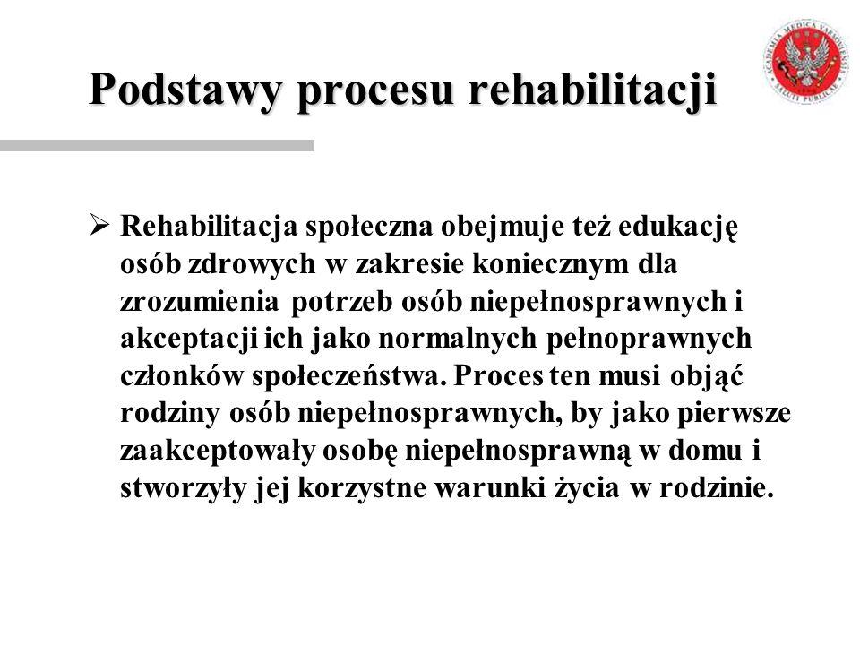 Podstawy procesu rehabilitacji  Rehabilitacja społeczna obejmuje też edukację osób zdrowych w zakresie koniecznym dla zrozumienia potrzeb osób niepeł