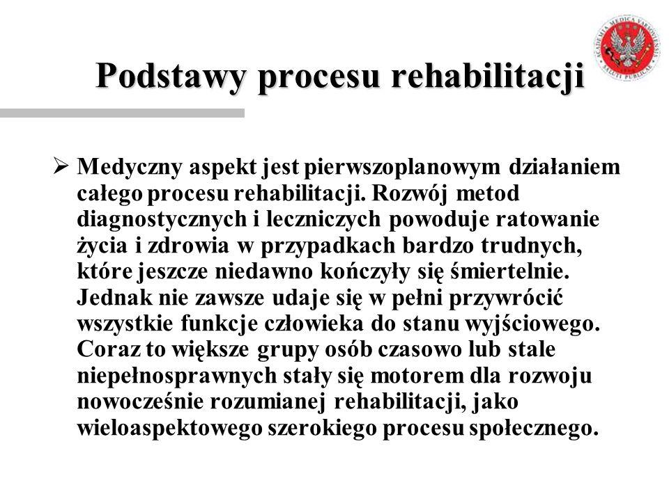 Podstawy procesu rehabilitacji  Medyczny aspekt jest pierwszoplanowym działaniem całego procesu rehabilitacji. Rozwój metod diagnostycznych i lecznic