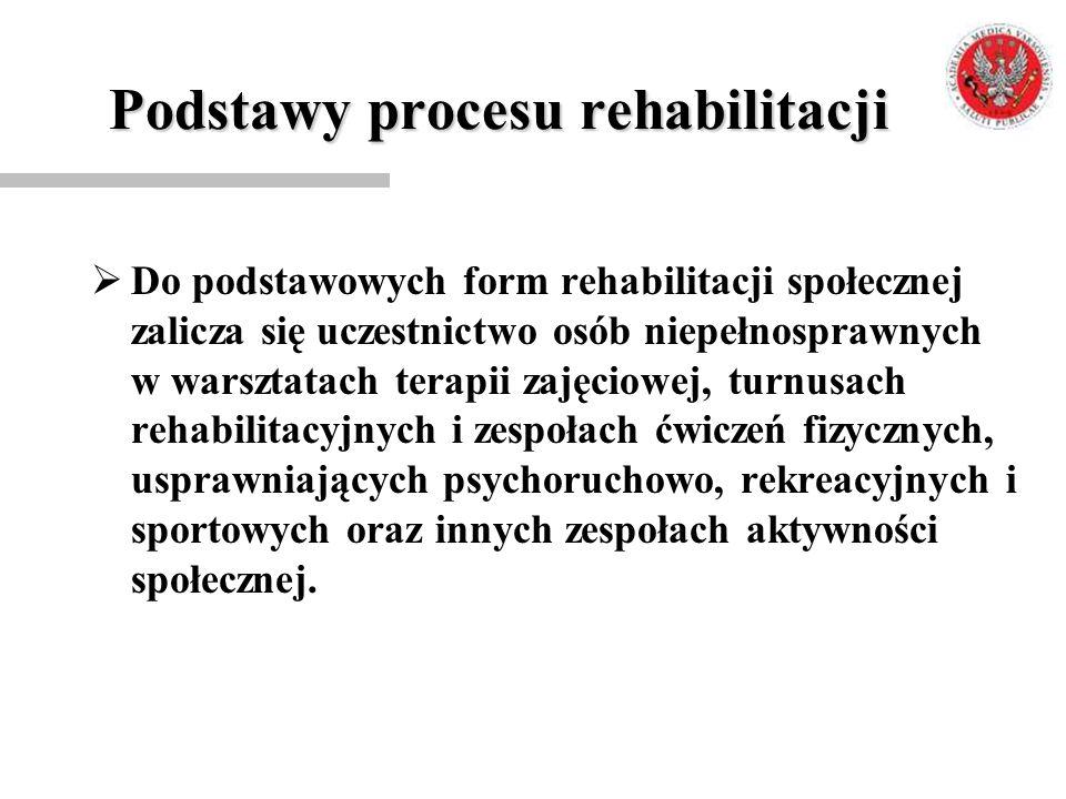 Podstawy procesu rehabilitacji  Do podstawowych form rehabilitacji społecznej zalicza się uczestnictwo osób niepełnosprawnych w warsztatach terapii z