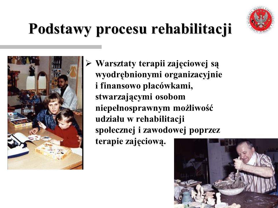 Podstawy procesu rehabilitacji  Warsztaty terapii zajęciowej są wyodrębnionymi organizacyjnie i finansowo placówkami, stwarzającymi osobom niepełnosp