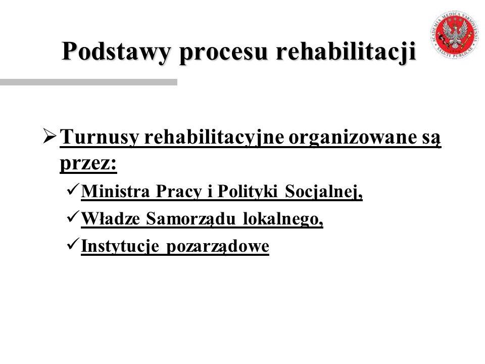 Podstawy procesu rehabilitacji  Turnusy rehabilitacyjne organizowane są przez: Ministra Pracy i Polityki Socjalnej, Władze Samorządu lokalnego, Insty