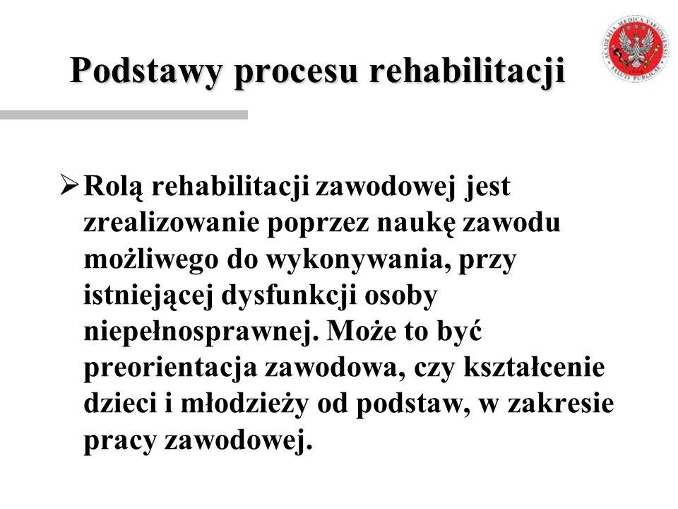 Podstawy procesu rehabilitacji  Rolą rehabilitacji zawodowej jest zrealizowanie poprzez naukę zawodu możliwego do wykonywania, przy istniejącej dysfu