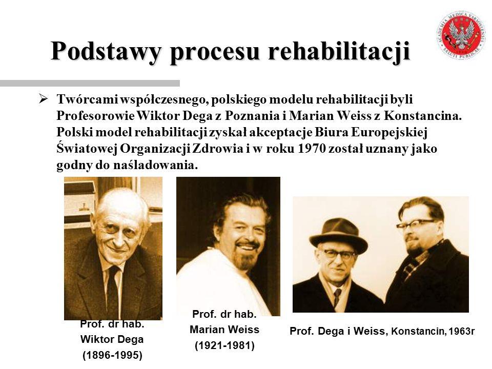 Podstawy procesu rehabilitacji  Twórcami współczesnego, polskiego modelu rehabilitacji byli Profesorowie Wiktor Dega z Poznania i Marian Weiss z Kons