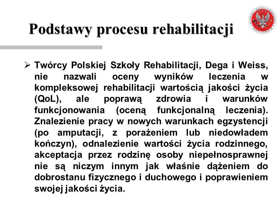 Podstawy procesu rehabilitacji  Twórcy Polskiej Szkoły Rehabilitacji, Dega i Weiss, nie nazwali oceny wyników leczenia w kompleksowej rehabilitacji w