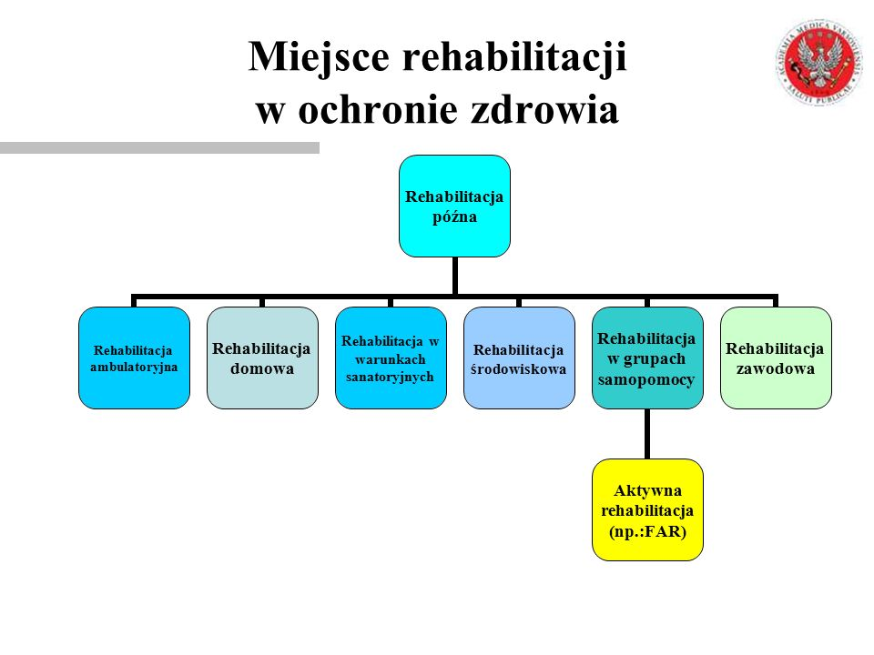 Rehabilitacja późna Rehabilitacja ambulatoryjna Rehabilitacja domowa Rehabilitacja w warunkach sanatoryjnych Rehabilitacja środowiskowa Rehabilitacja