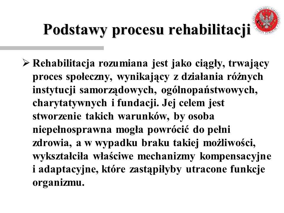 Podstawy procesu rehabilitacji  Rehabilitacja rozumiana jest jako ciągły, trwający proces społeczny, wynikający z działania różnych instytucji samorz