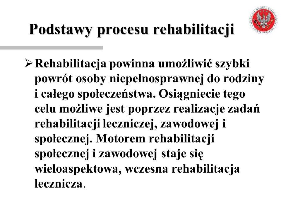 Podstawy procesu rehabilitacji  Rehabilitacja powinna umożliwić szybki powrót osoby niepełnosprawnej do rodziny i całego społeczeństwa. Osiągniecie t