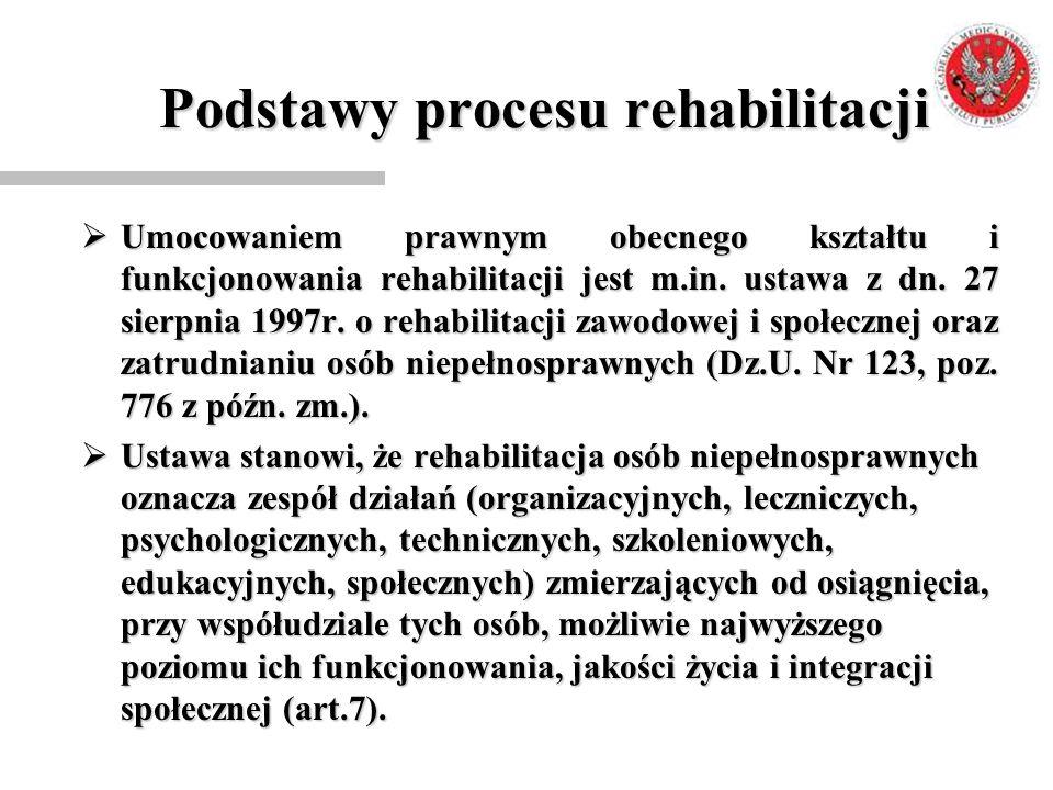Podstawy procesu rehabilitacji  Umocowaniem prawnym obecnego kształtu i funkcjonowania rehabilitacji jest m.in. ustawa z dn. 27 sierpnia 1997r. o reh