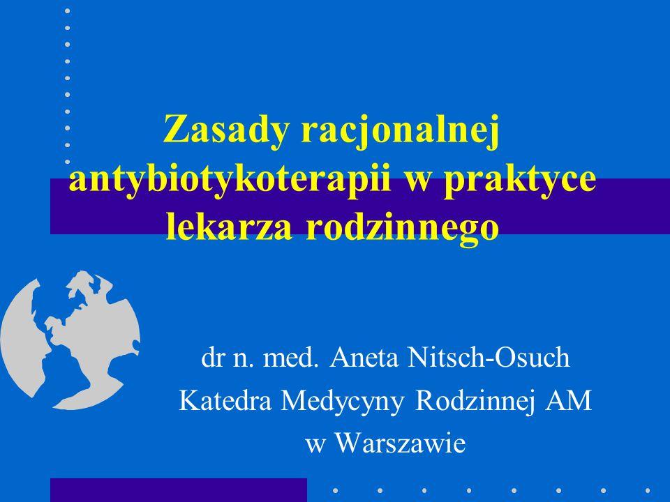 Zasady racjonalnej antybiotykoterapii w praktyce lekarza rodzinnego dr n. med. Aneta Nitsch-Osuch Katedra Medycyny Rodzinnej AM w Warszawie