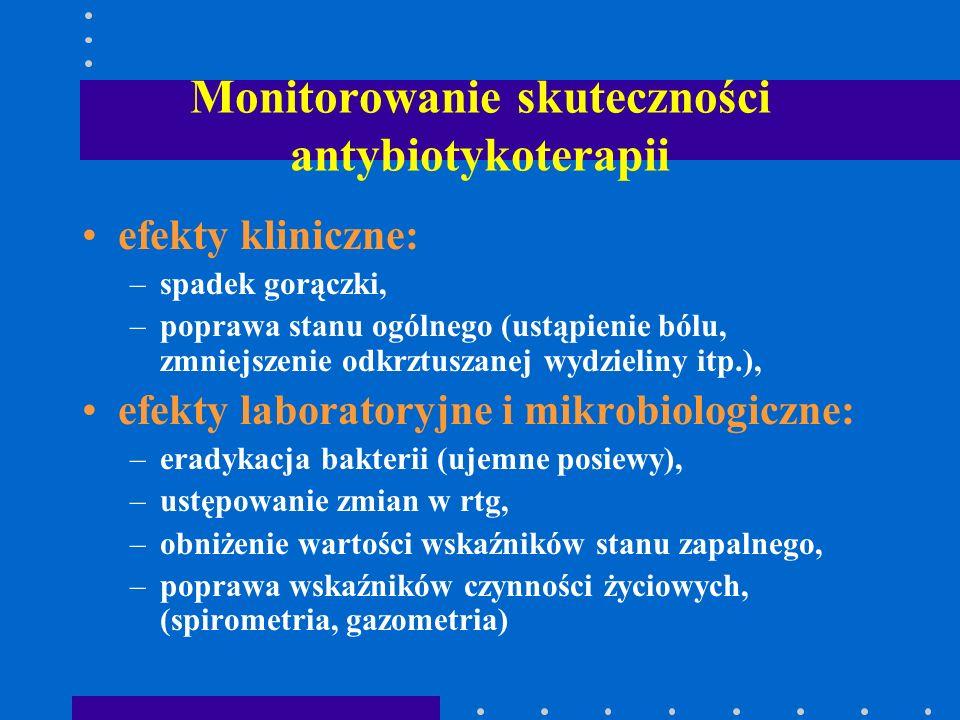 Monitorowanie skuteczności antybiotykoterapii efekty kliniczne: –spadek gorączki, –poprawa stanu ogólnego (ustąpienie bólu, zmniejszenie odkrztuszanej
