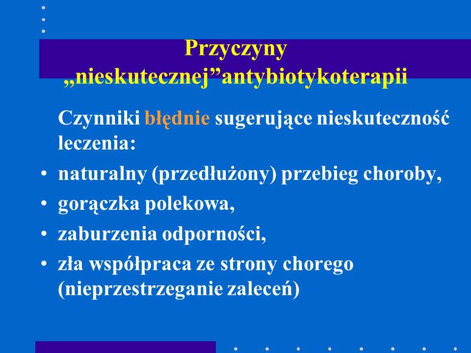 """Przyczyny """"nieskutecznej""""antybiotykoterapii Czynniki błędnie sugerujące nieskuteczność leczenia: naturalny (przedłużony) przebieg choroby, gorączka po"""