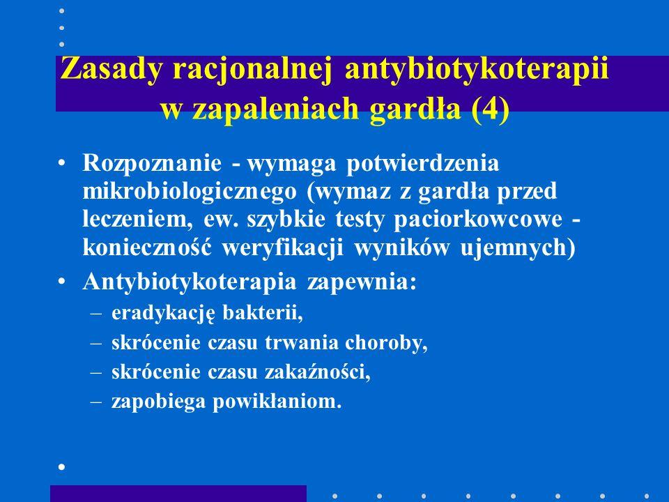Zasady racjonalnej antybiotykoterapii w zapaleniach gardła (4) Rozpoznanie - wymaga potwierdzenia mikrobiologicznego (wymaz z gardła przed leczeniem,