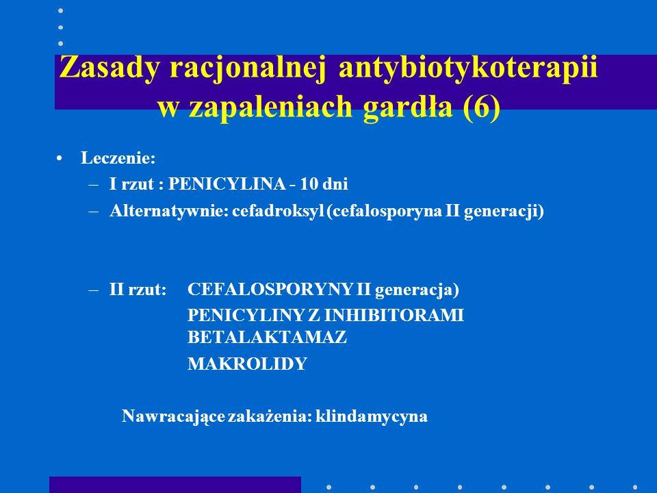 Zasady racjonalnej antybiotykoterapii w zapaleniach gardła (6) Leczenie: –I rzut : PENICYLINA - 10 dni –Alternatywnie: cefadroksyl (cefalosporyna II g