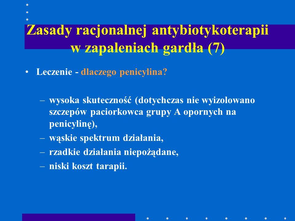 Zasady racjonalnej antybiotykoterapii w zapaleniach gardła (7) Leczenie - dlaczego penicylina? –wysoka skuteczność (dotychczas nie wyizolowano szczepó