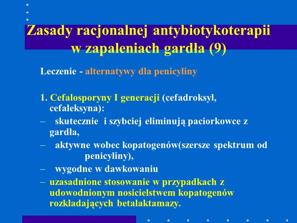 Zasady racjonalnej antybiotykoterapii w zapaleniach gardła (9) Leczenie - alternatywy dla penicyliny 1. Cefalosporyny I generacji (cefadroksyl, cefale