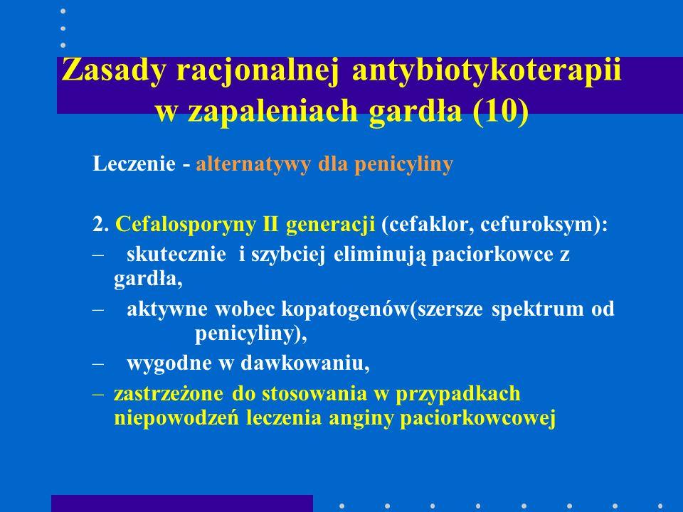 Zasady racjonalnej antybiotykoterapii w zapaleniach gardła (10) Leczenie - alternatywy dla penicyliny 2. Cefalosporyny II generacji (cefaklor, cefurok