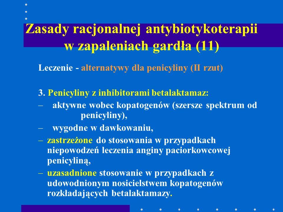 Zasady racjonalnej antybiotykoterapii w zapaleniach gardła (11) Leczenie - alternatywy dla penicyliny (II rzut) 3. Penicyliny z inhibitorami betalakta