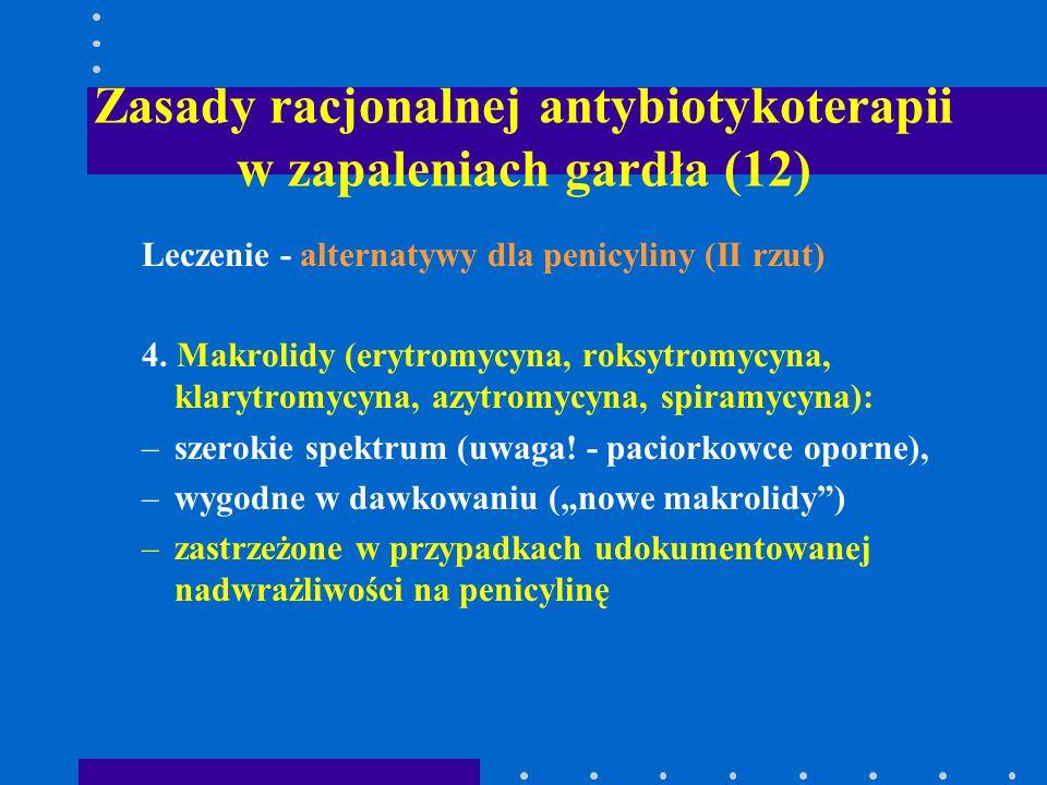 Zasady racjonalnej antybiotykoterapii w zapaleniach gardła (12) Leczenie - alternatywy dla penicyliny (II rzut) 4. Makrolidy (erytromycyna, roksytromy
