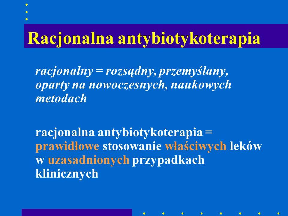 Przyczyny niepowodzeń w próbach stosowania racjonalnej antybiotykoterapii i sposoby ich unikania niewystarczająca wiedza opór i naciski ze strony pacjentów (ich opiekunów) nadmiar wiadomości (sprzeczne, nie powtarzające się, pochodzące z różnych krajów,nacisk firm farmaceutycznych) stałe śledzenie piśmiennictwa, doniesień zjazdowych, wytycznych zaangażowanie w tłumaczenie pacjentom wskazań do stosowania antybiotyków oraz skutków ubocznych niewłaściwej terapii śledzenie wytycznych zgodnych z sytuacją epidemiologiczną w danych regionie, zalecenia oparte na faktach naukowych