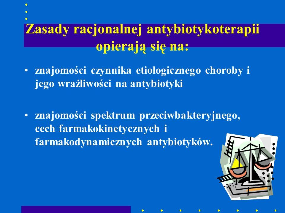 Zasady racjonalnej antybiotykoterapii opierają się na: znajomości czynnika etiologicznego choroby i jego wrażliwości na antybiotyki znajomości spektru