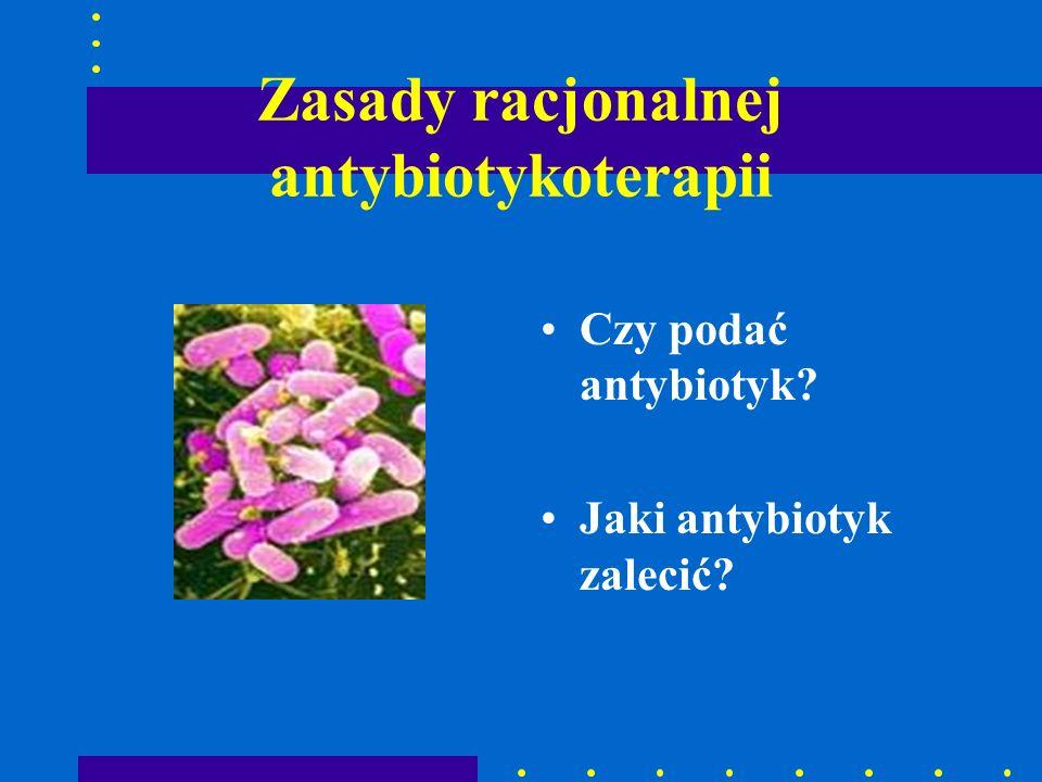Zasady racjonalnej antybiotykoterapii Czy podać antybiotyk? Jaki antybiotyk zalecić?