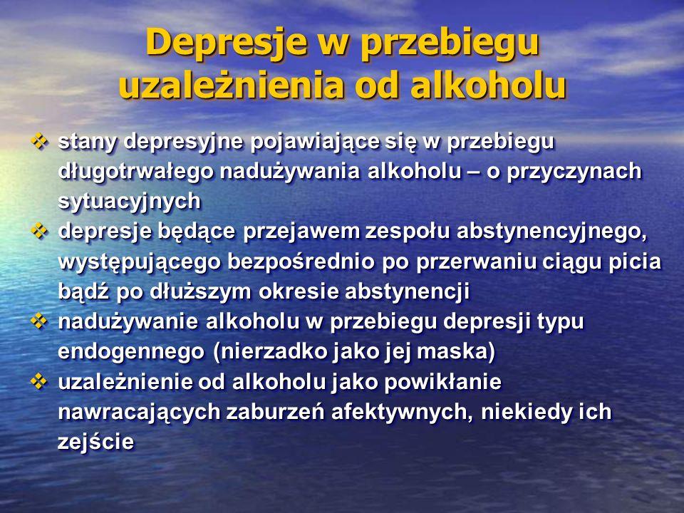 Depresje w przebiegu uzależnienia od alkoholu  stany depresyjne pojawiające się w przebiegu długotrwałego nadużywania alkoholu – o przyczynach sytuacyjnych  depresje będące przejawem zespołu abstynencyjnego, występującego bezpośrednio po przerwaniu ciągu picia bądź po dłuższym okresie abstynencji  nadużywanie alkoholu w przebiegu depresji typu endogennego (nierzadko jako jej maska)  uzależnienie od alkoholu jako powikłanie nawracających zaburzeń afektywnych, niekiedy ich zejście  stany depresyjne pojawiające się w przebiegu długotrwałego nadużywania alkoholu – o przyczynach sytuacyjnych  depresje będące przejawem zespołu abstynencyjnego, występującego bezpośrednio po przerwaniu ciągu picia bądź po dłuższym okresie abstynencji  nadużywanie alkoholu w przebiegu depresji typu endogennego (nierzadko jako jej maska)  uzależnienie od alkoholu jako powikłanie nawracających zaburzeń afektywnych, niekiedy ich zejście