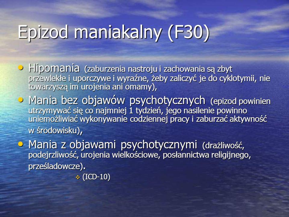 Epizod maniakalny (F30) Hipomania (zaburzenia nastroju i zachowania są zbyt przewlekłe i uporczywe i wyraźne, żeby zaliczyć je do cyklotymii, nie towarzyszą im urojenia ani omamy), Hipomania (zaburzenia nastroju i zachowania są zbyt przewlekłe i uporczywe i wyraźne, żeby zaliczyć je do cyklotymii, nie towarzyszą im urojenia ani omamy), Mania bez objawów psychotycznych (epizod powinien utrzymywać się co najmniej 1 tydzień, jego nasilenie powinno uniemożliwiać wykonywanie codziennej pracy i zaburzać aktywność w środowisku), Mania bez objawów psychotycznych (epizod powinien utrzymywać się co najmniej 1 tydzień, jego nasilenie powinno uniemożliwiać wykonywanie codziennej pracy i zaburzać aktywność w środowisku), Mania z objawami psychotycznymi (drażliwość, podejrzliwość, urojenia wielkościowe, posłannictwa religijnego, prześladowcze).