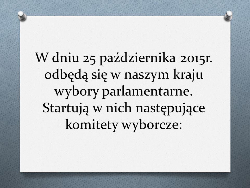 W dniu 25 października 2015r.odbędą się w naszym kraju wybory parlamentarne.