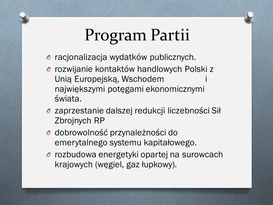 Program Partii O racjonalizacja wydatków publicznych.