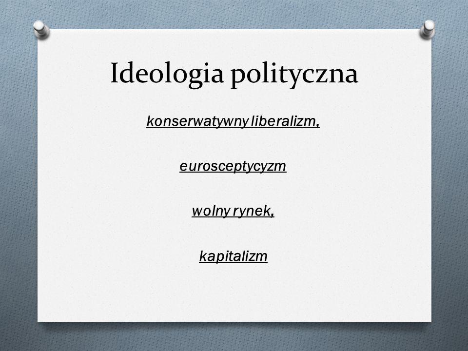 Ideologia polityczna konserwatywny liberalizm, eurosceptycyzm wolny rynek, kapitalizm
