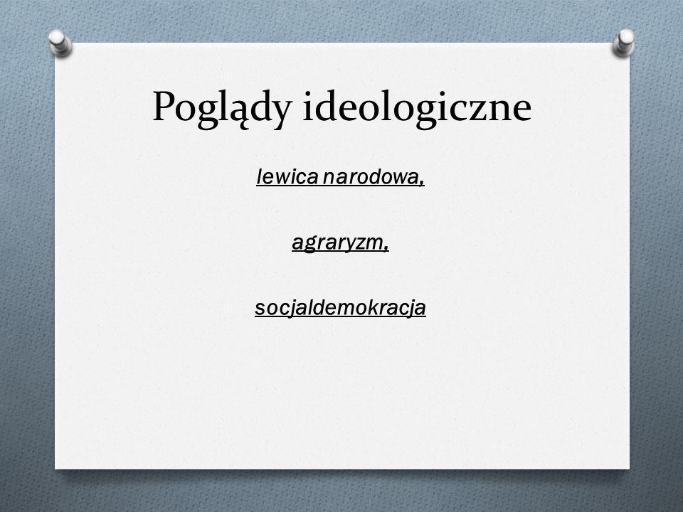 Poglądy ideologiczne lewica narodowa, agraryzm, socjaldemokracja