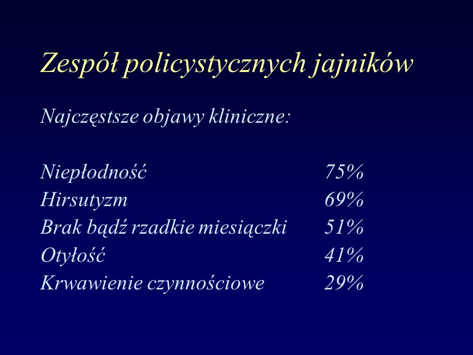 Zespół policystycznych jajników Najczęstsze objawy kliniczne: Niepłodność75% Hirsutyzm69% Brak bądź rzadkie miesiączki51% Otyłość41% Krwawienie czynnościowe29%