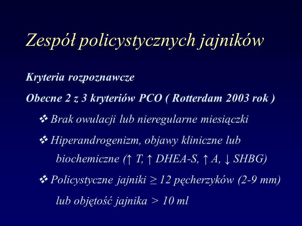 Zespół policystycznych jajników Kryteria rozpoznawcze Obecne 2 z 3 kryteriów PCO ( Rotterdam 2003 rok )  Brak owulacji lub nieregularne miesiączki 