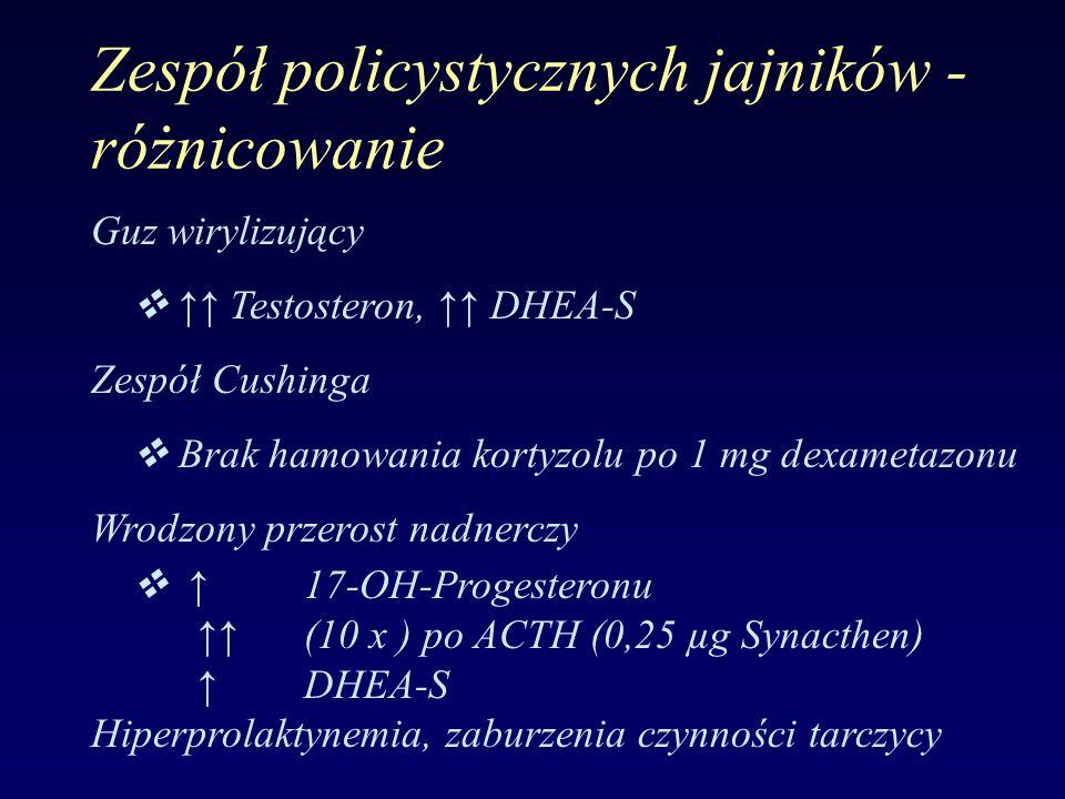 Zespół policystycznych jajników - różnicowanie Guz wirylizujący  ↑↑ Testosteron, ↑↑ DHEA-S Zespół Cushinga  Brak hamowania kortyzolu po 1 mg dexamet