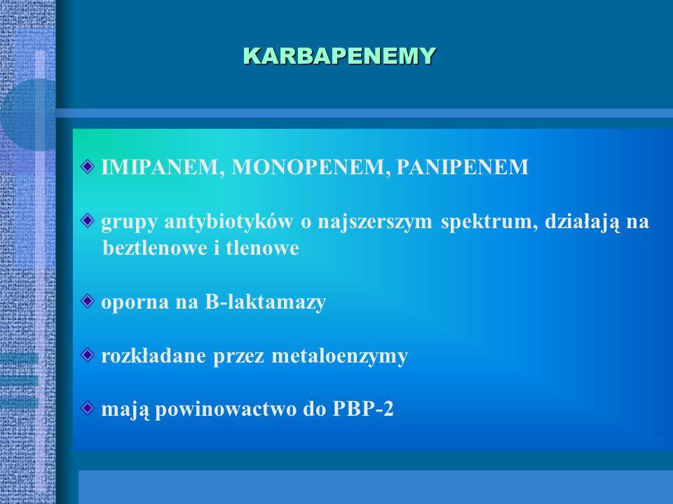 MONOBAKTAMY tylko pierścień B-laktamowy AZTREONAM, KARUMONAM, TIGEMONAM spektrum tlenowe Gram(-): Ziarenkowe (Neisseria) pałeczki (Enterobacteracae, H