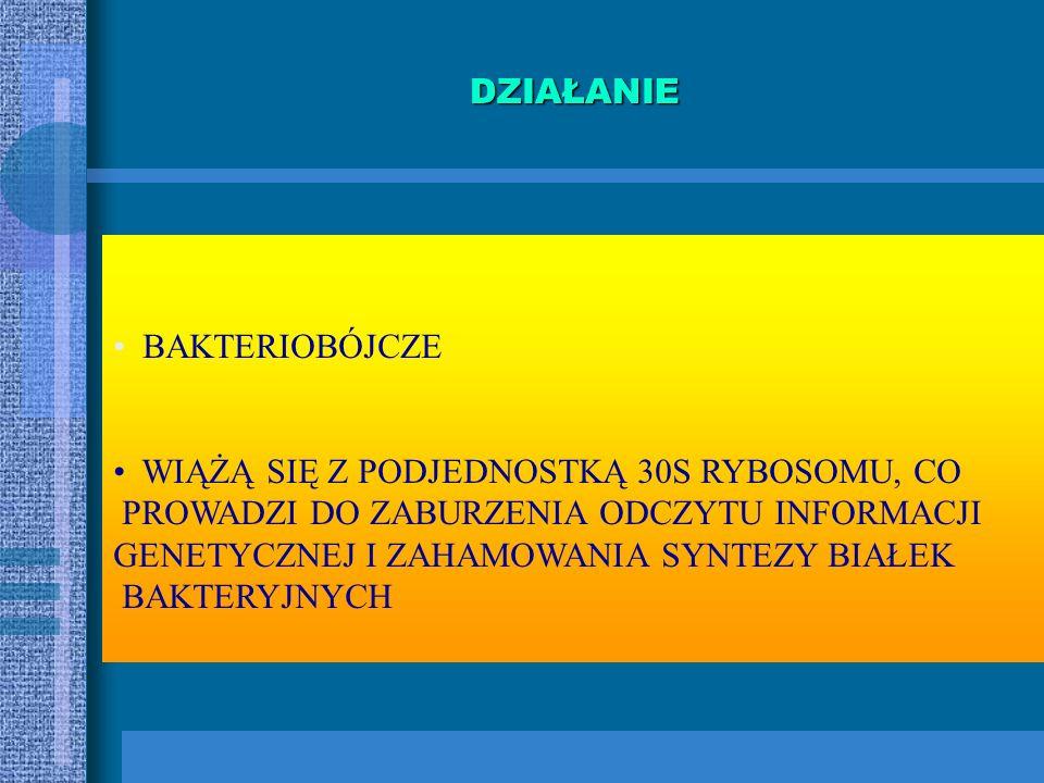 AMINOGLIKOZYDY NATURALNEPÓŁSYNTETYCZNE STREPTOMYCYNA NEOMYCYNA KANAMYCYNA GENTAMYCYNA TOBRAMYCYNA NETYLMYCYNA (pochodna sisomycyny) AMIKACYNA (pochodn