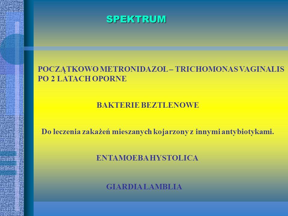 NITROIMIDAZOLE Syntetyczne, heterocykliczne związki o 5 członowym jądrze; Aktywność bakteriobójcza do : -pierwotniaków, -beztlenowców; 5-NITROIMIDAZOL
