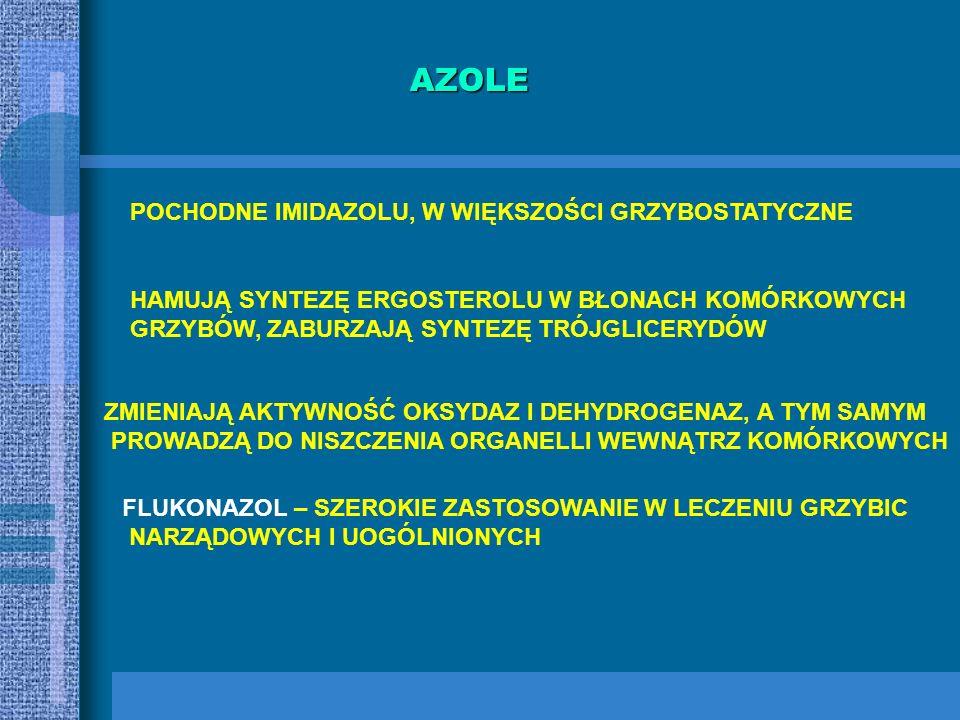 POLIENY ANTYBIOTYKI NATURALNE, WYTWARZANE PRZEZ PROMIENIOWCE: Streptomyces hodosus (amfoterycyna) Streptomyces nursei (nystatyna) Streptomyces natalen