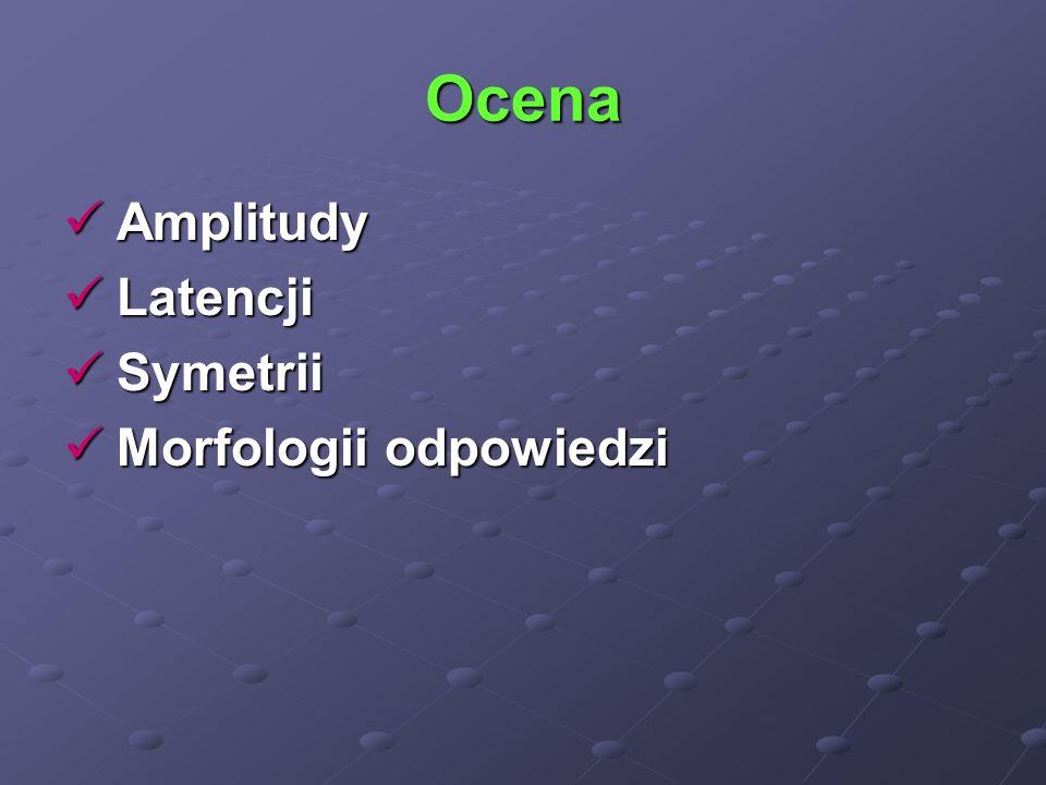 Ocena Amplitudy Amplitudy Latencji Latencji Symetrii Symetrii Morfologii odpowiedzi Morfologii odpowiedzi