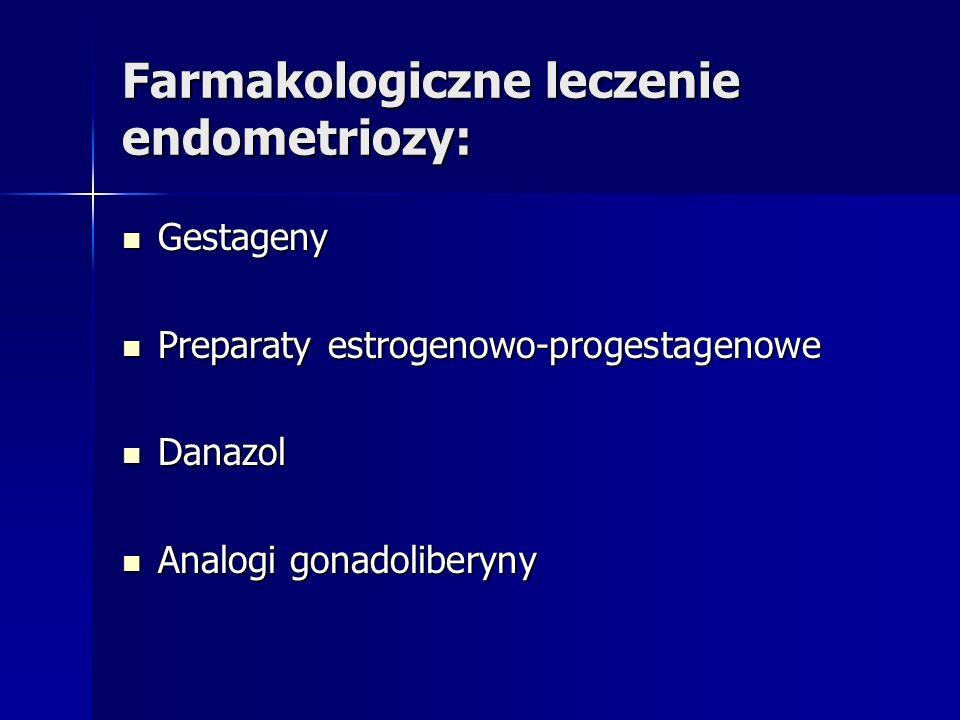 Farmakologiczne leczenie endometriozy: Gestageny Gestageny Preparaty estrogenowo-progestagenowe Preparaty estrogenowo-progestagenowe Danazol Danazol Analogi gonadoliberyny Analogi gonadoliberyny