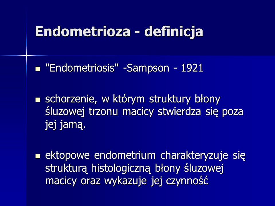 Endometriosis -Sampson - 1921 Endometriosis -Sampson - 1921 schorzenie, w którym struktury błony śluzowej trzonu macicy stwierdza się poza jej jamą.