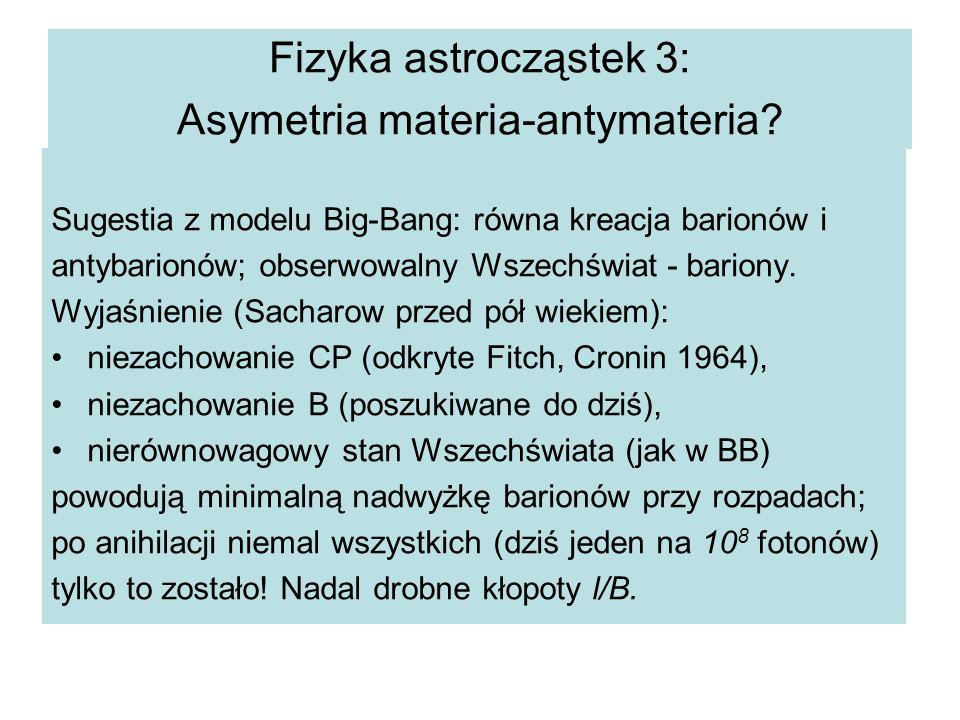Fizyka astrocząstek 3: Asymetria materia-antymateria.