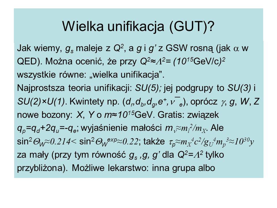 Wielka unifikacja (GUT).Jak wiemy, g s maleje z Q 2, a g i g' z GSW rosną (jak  w QED).