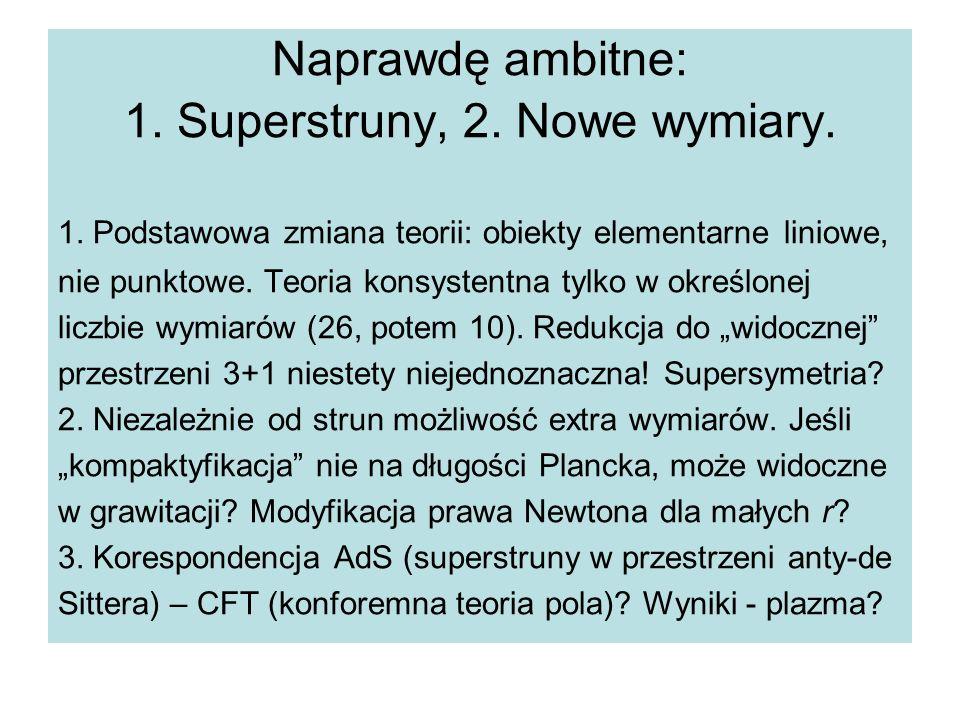 Naprawdę ambitne: 1.Superstruny, 2. Nowe wymiary.