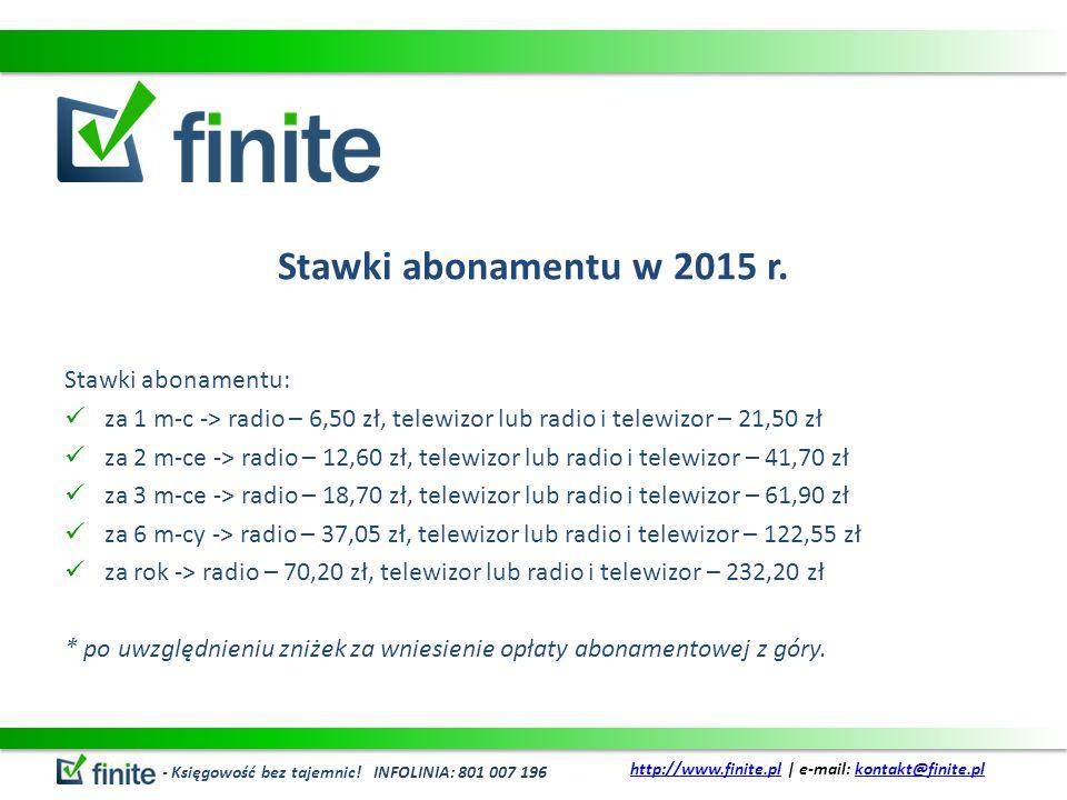 Stawki abonamentu w 2015 r.