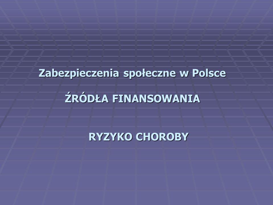 Zabezpieczenia społeczne w Polsce ŹRÓDŁA FINANSOWANIA RYZYKO CHOROBY