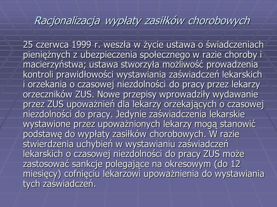 Racjonalizacja wypłaty zasiłków chorobowych 25 czerwca 1999 r. weszła w życie ustawa o świadczeniach pieniężnych z ubezpieczenia społecznego w razie c